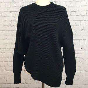 FREE PEOPLE Black Downtown Asymmetrical Sweater SP